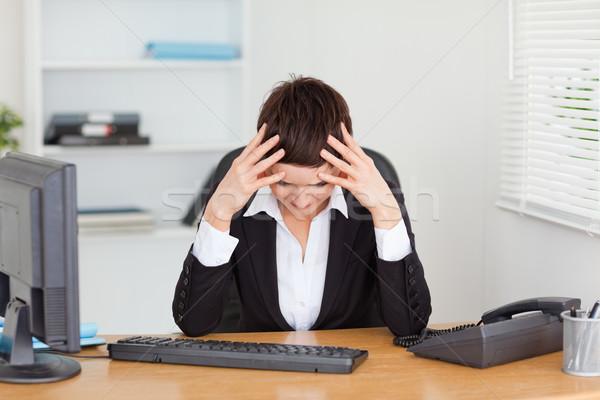 Müde Sekretär Büro Frau Gesicht Arbeit Stock foto © wavebreak_media