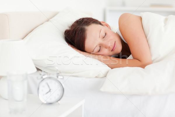 Nő ágy hálószoba arc otthon kanapé Stock fotó © wavebreak_media