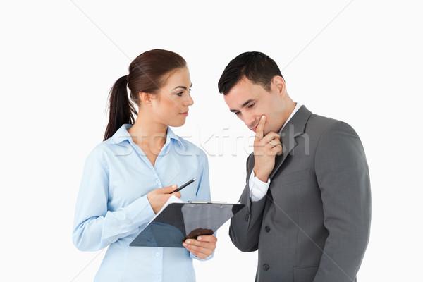 Hablar datos blanco reunión de trabajo Foto stock © wavebreak_media
