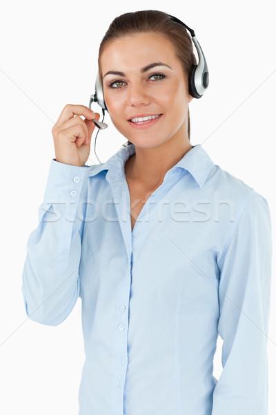 Feminino call center agente branco sorrir feliz Foto stock © wavebreak_media