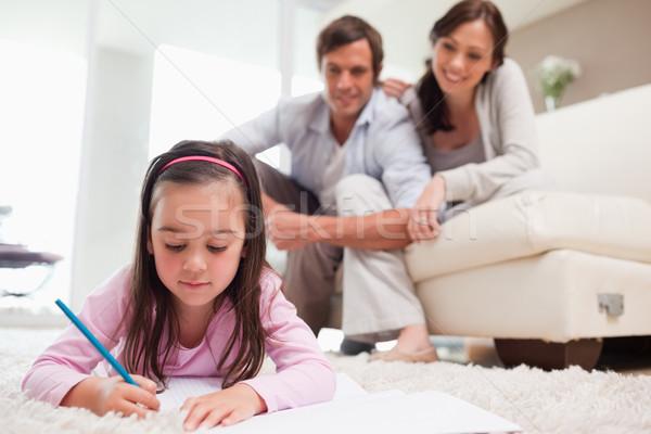 девочку рисунок родителей ковер семьи книга Сток-фото © wavebreak_media