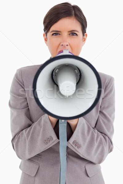 Kadın megafon beyaz Stok fotoğraf © wavebreak_media
