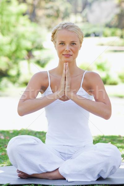 Nyugodt fiatal nő gyep jóga pozició szépség Stock fotó © wavebreak_media