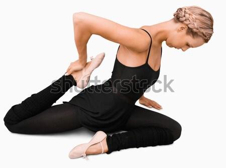 Oldalnézet nyújtás nő fehér táncos ballerina Stock fotó © wavebreak_media