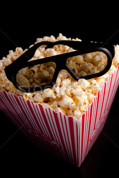 3d очки Top окна попкорн черный Сток-фото © wavebreak_media