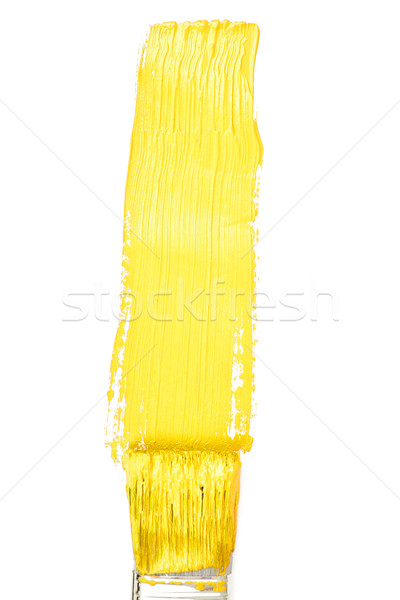Yellow vertical line of painting against a white background Stock photo © wavebreak_media