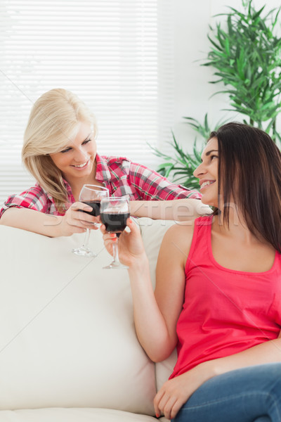 Women sitting on the couch drinking wine Stock photo © wavebreak_media