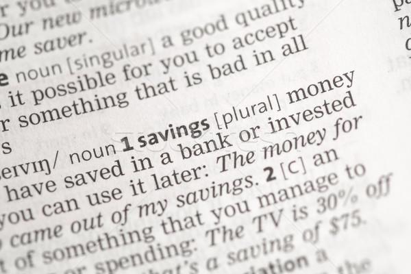 Oszczędności ceny definicja stron gospodarki słowa Zdjęcia stock © wavebreak_media