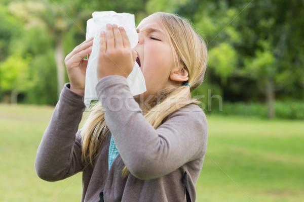 Dziewczyna tkanka papieru parku młoda dziewczyna Zdjęcia stock © wavebreak_media