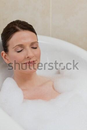 Paisible brunette serviette à l'extérieur spa Homme Photo stock © wavebreak_media