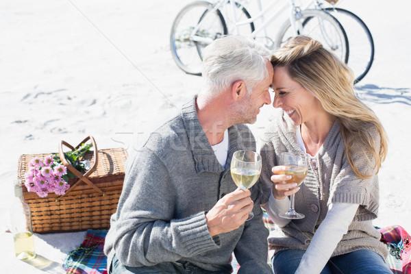 Paar genießen Weißwein Picknick Strand lächelnd Stock foto © wavebreak_media