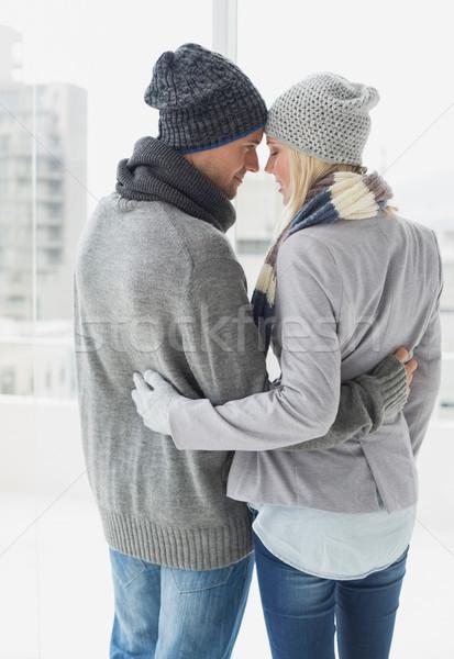 Cute para ciepłe ubrania chłodny dzień Zdjęcia stock © wavebreak_media