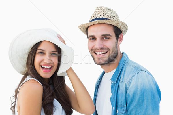 счастливым пару улыбаясь камеры белый Сток-фото © wavebreak_media