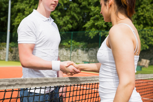 Tennis opponents shaking hands before match Stock photo © wavebreak_media