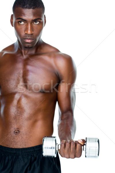 Poważny dopasować półnagi młody człowiek Zdjęcia stock © wavebreak_media