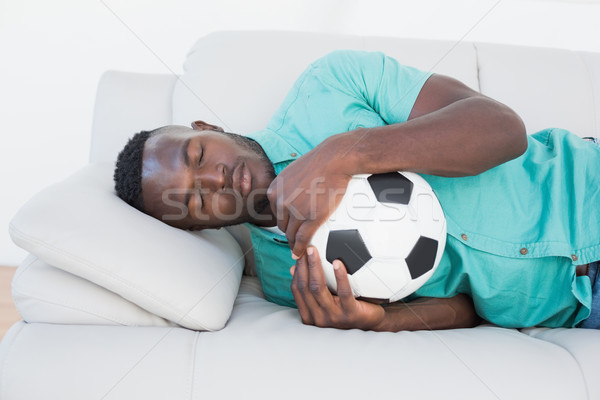 Stock fotó: Futball · ventillátor · ölel · labda · kanapé · alszik