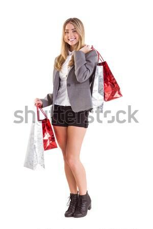 スタイリッシュ ブロンド ショッピングバッグ 白 肖像 ストックフォト © wavebreak_media