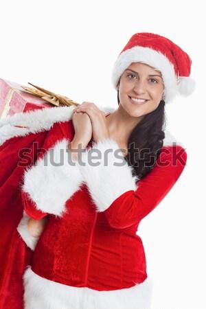 ünnepi szőke nő mosolyog mutat fehér felirat Stock fotó © wavebreak_media