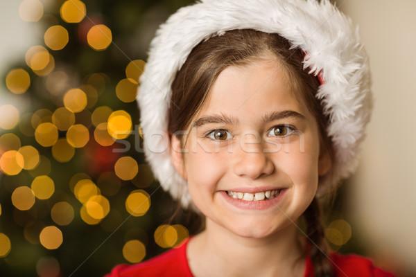 ünnepi kislány mosolyog kamera otthon nappali Stock fotó © wavebreak_media