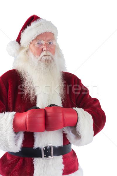 Święty mikołaj rękawice bokserskie biały człowiek christmas zły Zdjęcia stock © wavebreak_media