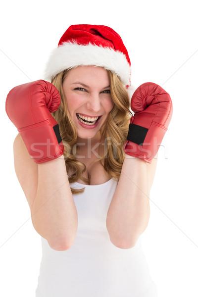 Mulher loira luvas de boxe sorridente câmera branco Foto stock © wavebreak_media