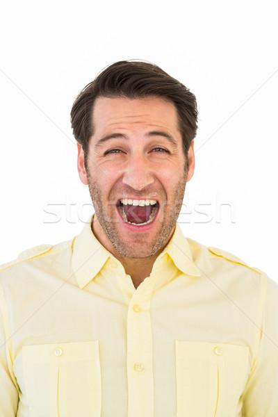 Yakışıklı adam çığlık atan dışarı yüksek sesle beyaz adam Stok fotoğraf © wavebreak_media