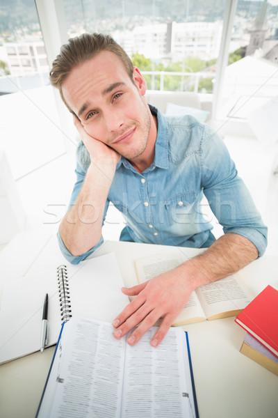 Kimerült üzletember tanul asztal iroda stressz Stock fotó © wavebreak_media