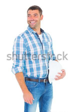 Mosolyog ezermester munkavédelmi sisak másfelé néz fehér férfi Stock fotó © wavebreak_media