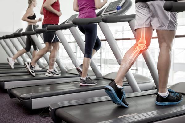 Highlighted knee of man on treadmill Stock photo © wavebreak_media