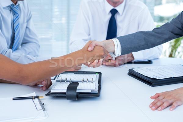 Foto stock: Negócio · colegas · aperto · de · mãos · escritório · mulher · homem