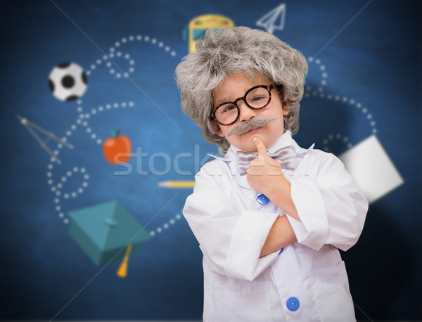 Composite image of cute pupil in lab coat  Stock photo © wavebreak_media