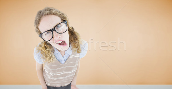 Composite image of confused geeky hipster woman  Stock photo © wavebreak_media
