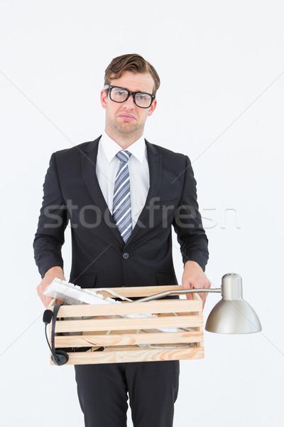 Triste empresário caixa coisas branco Foto stock © wavebreak_media