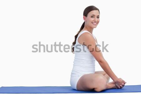 Terhes nő forma otthon boldog fitnessz terhes Stock fotó © wavebreak_media