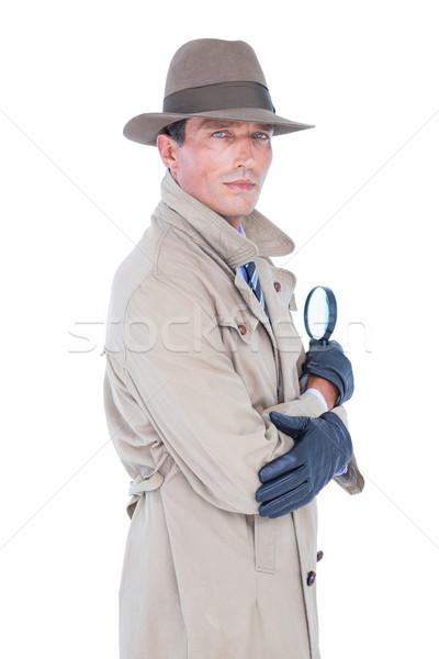 Espion regarder loupe blanche portrait Homme Photo stock © wavebreak_media