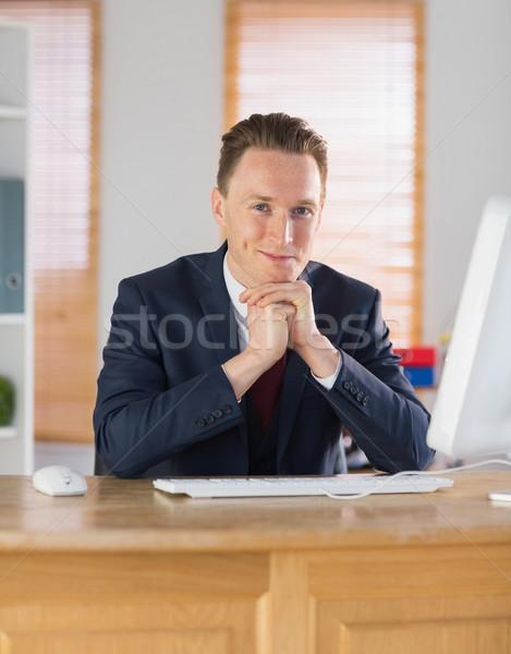 счастливым бизнесмен рабочих столе служба компьютер Сток-фото © wavebreak_media