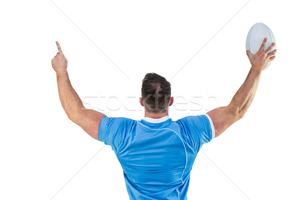 Rugby player cheering with the ball Stock photo © wavebreak_media