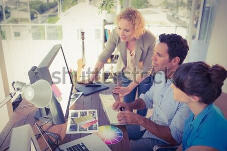 Dois trabalhando computador escritório ver Foto stock © wavebreak_media