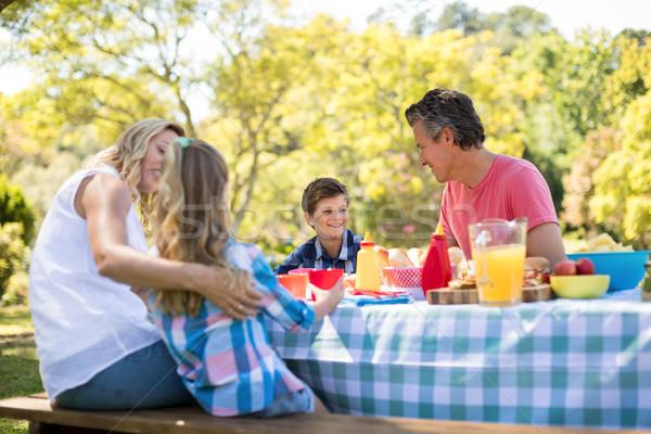 Zdjęcia stock: Szczęśliwą · rodzinę · inny · posiłek · parku · kobieta