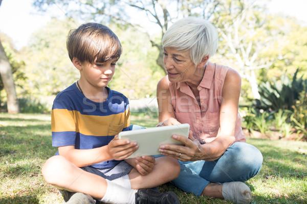 Grandmother and grandson using digital tablet in the park Stock photo © wavebreak_media