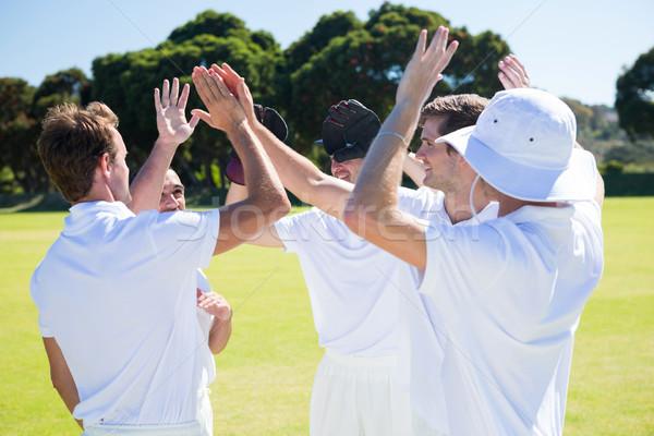 Smiling cricket players celebrating win at field Stock photo © wavebreak_media