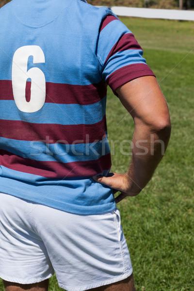 Rögbi játékos áll mező kéz csípő Stock fotó © wavebreak_media