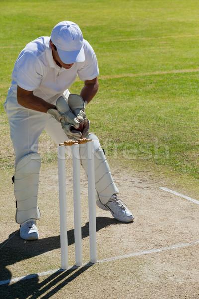 Full length of wicketkeeper catching ball behind stumps on field Stock photo © wavebreak_media