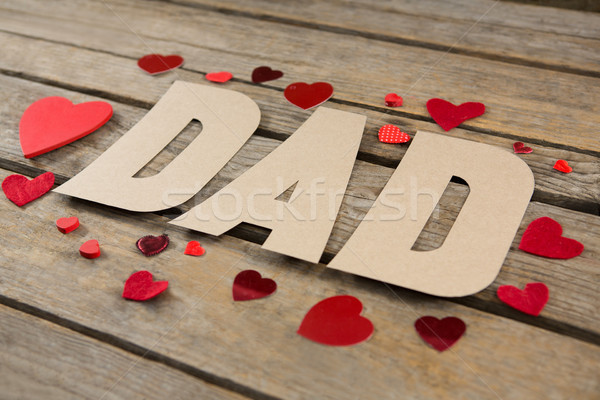 High angle view of dad text with red heart shapes Stock photo © wavebreak_media