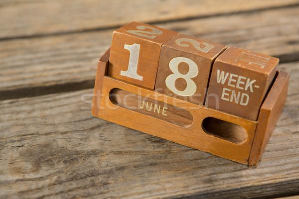 Magasról fotózva kilátás asztal fából készült fa kék Stock fotó © wavebreak_media