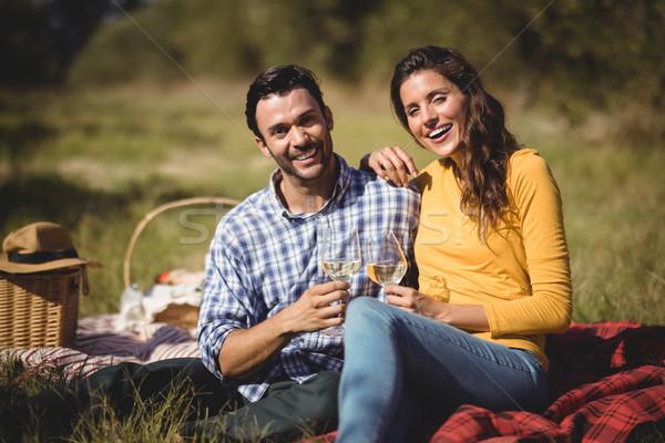 Retrato feliz casal copos de vinho sessão Foto stock © wavebreak_media
