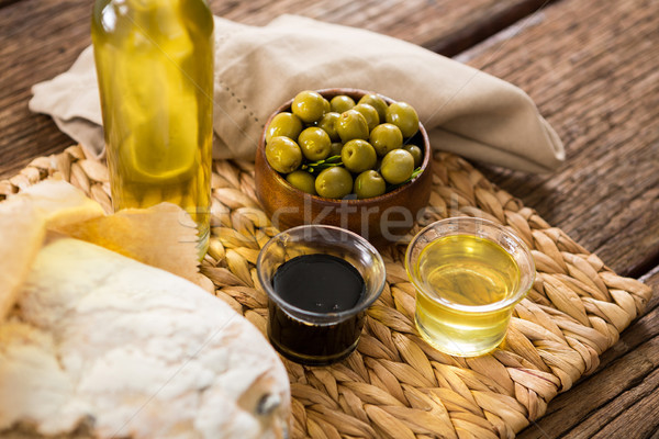 マリネ オリーブ 油 ボトル 木製のテーブル クローズアップ ストックフォト © wavebreak_media
