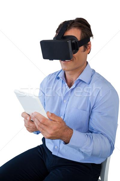 Görmek işadamı tablet gözlük beyaz Stok fotoğraf © wavebreak_media