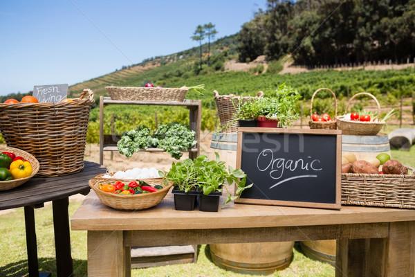 Various fresh vegetables and slate arranged on table Stock photo © wavebreak_media