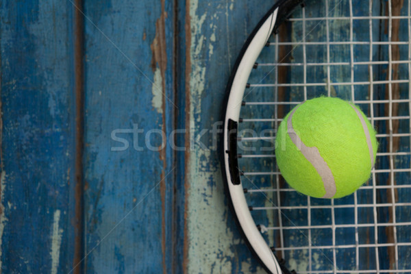 Tl Geel tennisbal racket Blauw Stockfoto © wavebreak_media
